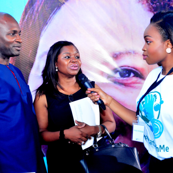 Blue carpet interviews at the DRASA Launch/Fundraiser