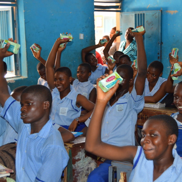 Happy students receiving their donated Unilever products