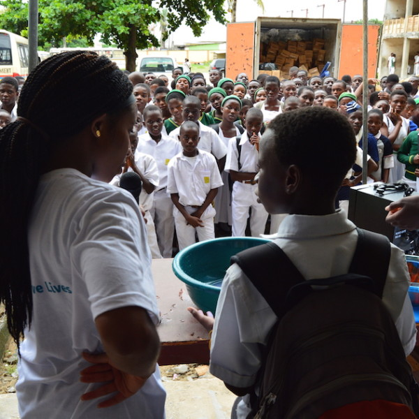 Niniola Soleye and one of the student volunteers