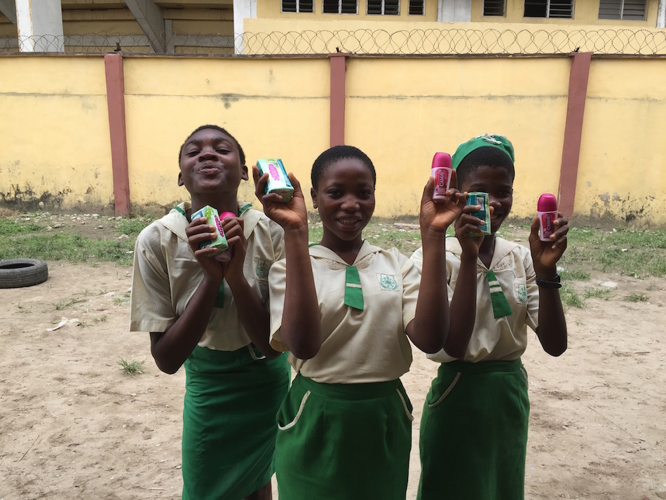 Students at New Era Senior High School happy to receive their donated gifts