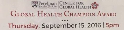 University of Pennsylvania Perelman School of Medicine Center for Global Health: Global Health Champion Award