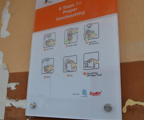 The 6 steps for proper handwashing now installed on the school wall