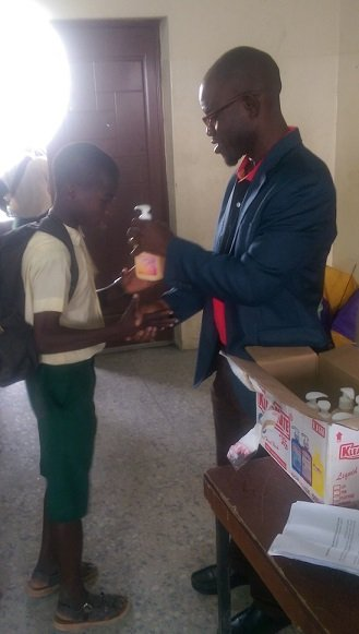 Students receiving their Kleanmate handwash