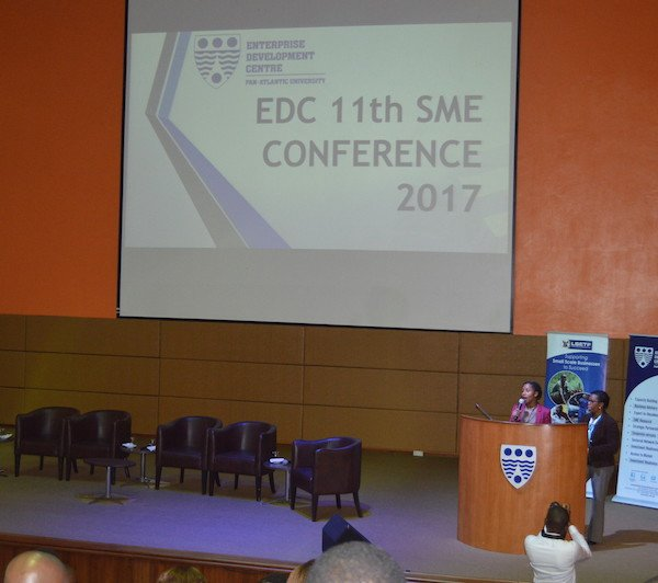 DRASA's MD Niniola Soleye and ADCEM's COO Sola Adeniola addressing the audience at the Enterprise Development Centre's Annual SME Conference