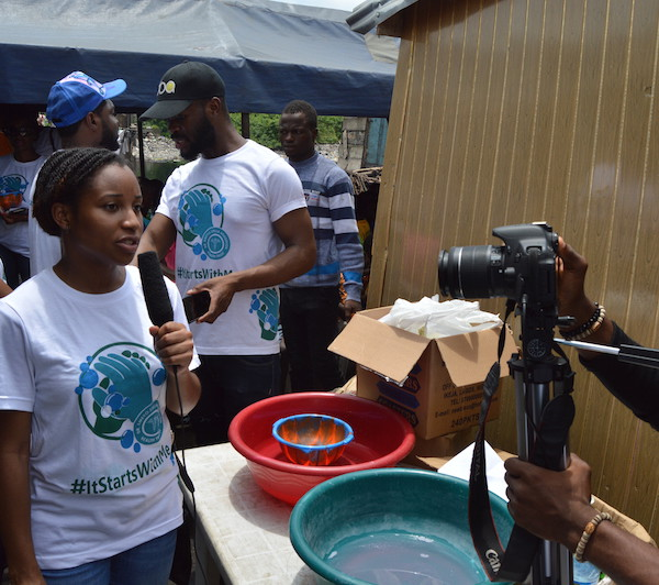 Our MD Niniola Soleye conducting an interview in Ajegunle