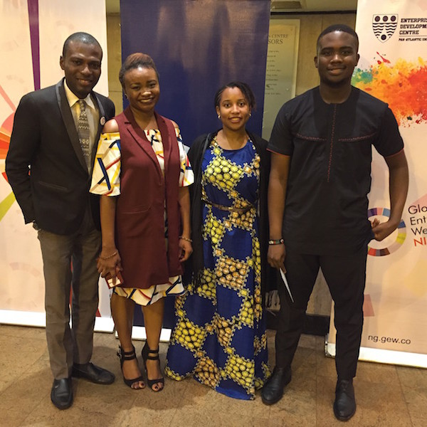 DRASA's Program Coordinator Dr. Lauretta Ovadje and DRASA's Managing Director Niniola Soleye with the 2 representatives from Covenant University Team (University Representative Damilare Oshokoya and Student Team Leader Osamuyi Adonri)