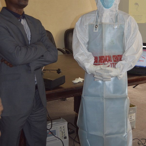 Wearing all items of personal protective equipment (PPE) needed for the scenario presented