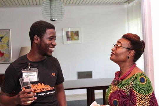 DRASA's Program Coordinator Dr. Lauretta Ovadje with Mr. Oluwafemi Azeez, a Falling Walls participant