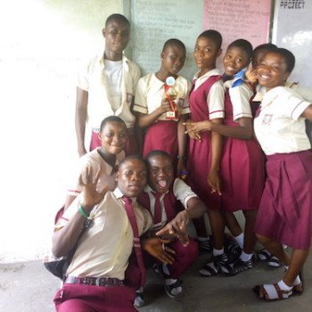 Youth Ambassadors posing with their trophy after the DRASA's Got Talent inter-school competition