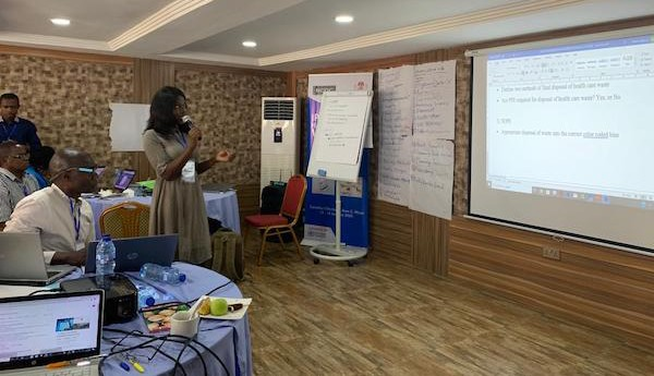 Ayomikun Fatoki, DRASAs Program Associate presenting her work during the IPC Harmonization Workshop