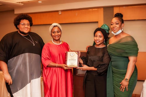 Our MD Niniola Williams accepting the award for our public advocacy work