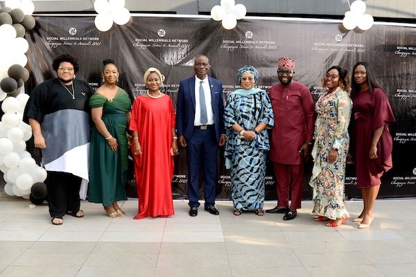 Kemak Onyenaucheya (Convener/ President, Social Millennials Network), Clare Henshaw (Vice-president, Social Millennials Network), Mrs. Mary Akpobome (Special Guest Mentor), Professor Oluwatoyin Ogundipe (Vice-Chancellor of the University of Lagos), Mrs. Raliat Oyetunde (Special Guest Mentor), Dr. Benjamin Olowojebutu (Executive Member, Social Millennials Network), Hon. Adetola Salau (Senior Special Assistant (Education) to the Governor of Lagos State) and Hon. Oloruntoyosi Thomas (Special Guest)